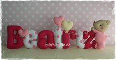 Teddy Bear Felt Name Banner - baby's room - First Name Felt - Wall Decoration