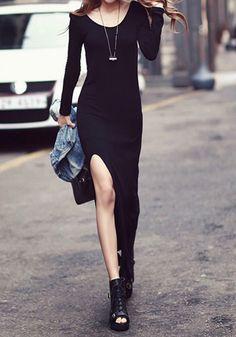aaf4af50435f Side Slit Maxi Dress- Fabolous Side Slit Maxi Dress Lil Black Dress