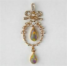 Late Victorian opal and diamond bow pendant
