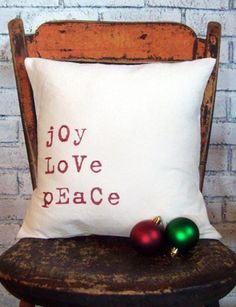 "White Christmas pillow,Christmas pillow for Christmas.""joy love peace"" #christmas #pillow #handmade www.loveitsomuch.com"