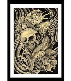 Koi & Skull Art Print by Artist Clark North