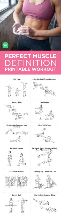 Ejercicios - Fitness - The Muscle Definition Builder Full Body Gym Workout – Wish you had more defined muscle? This workout will give you that fit, defined look you crave. Bikini Challenge, Forma Fitness, Full Body Gym Workout, Fitness Motivation, Le Pilates, Printable Workouts, I Work Out, Zumba, Get In Shape