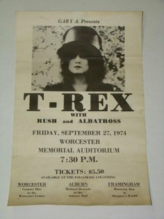 rush concert posters | 2281: 1974 Marc Bolan T-REX Rush Concert Poster MA : Lot 2281