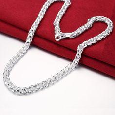 Joyería de Los Hombres de alta calidad 20 ''50 cm anchura de 6mm 925 plata esterlina plateó el collar trenzado cadena de regalo bolsas envío gratis