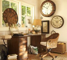 Dear Ginza Building by Amano Design Office A get away spot in the office for a little one to read! Very cool Classical Home Office Design Id. Casa Steampunk, Office Decor, Home Office, Office Ideas, Office Nook, Desk Office, Old Clocks, Rustic Clocks, Vintage Clocks