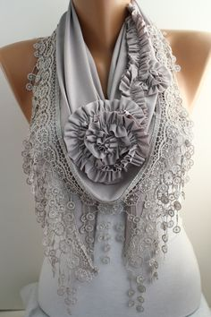Light Grey Beige Jersey Rose Shawl Scarf - Headband -Cowl with Lace Edge - Lace Scarf- Rose Scarf Christmas Gift DIDUCI