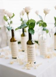 wine bottles with ... place card names etc...