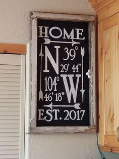 Location coordinates farmhouse sign, cricut freezer paper, fabric paint. Farmhouse. Old window frame.