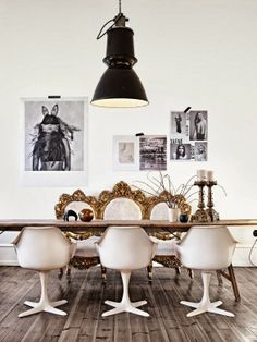 Eclectic spaces - Marie Olsson Nylander   Daily Dream Decor White space age plastic chairs with a barocco mirror? Hell yes