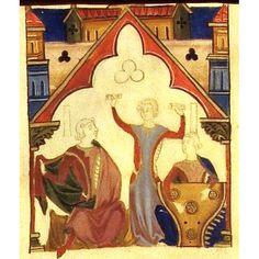 iluminuras medievais portuguesas - nobre, bailadeira com castanholas, jogral com saltério de lados côncavos. Pesquisa Google