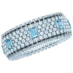 Bracelet with Aquamarines, Diamonds and Black Onyx available at Tiffany & Co