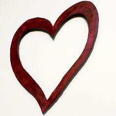 "Pink HEART shabby chic wall art 20"" wide wedding sign metal heart symbol steel pink rust patina. $49.00, via Etsy."