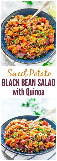 Roasted Sweet Potato Quinoa Black Bean Salad Healthy filling and DELICIOUS Perfect makeahead recipe for healthy lunches or for a side dish at parties and potlucks vegan g. Vegan Quinoa Recipes, Healthy Recipes, Veggie Recipes, Whole Food Recipes, Vegetarian Recipes, Healthy Lunches, Healthy Eating, Cooking Recipes, Healthy Salads