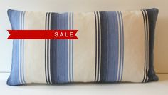 Designer Blue Navy and Natural Off White Nautical Beachy Stripe 11x20 Lumbar Decorative Throw Toss Pillow Cover