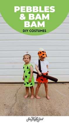 Pebbles and Bam Bam Costumes Pebbles Costume, Pebbles Halloween Costumes, Flintstones Halloween Costumes, Homemade Halloween Costumes, Halloween Diy, Pebbles And Bam Bam, Diy Costumes, Bambam, Costume Patterns