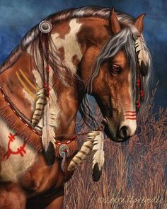 getting ideas for my next tattoo. im thinking thigh piece - Native american horse