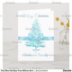 Shop Soft Blue Holiday Tree Ribbon Bow Custom Name created by LeonOziel. Holiday Tree, Holiday Cards, Christmas Cards, Merry Christmas, Ribbon Bows, Teal Blue, White Christmas, Photo Cards, Create Your Own