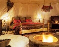This is inside of a tipi.