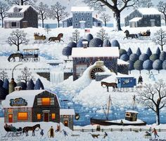 Charles Wysocki Plumbelly's Playground Stretched Canvas