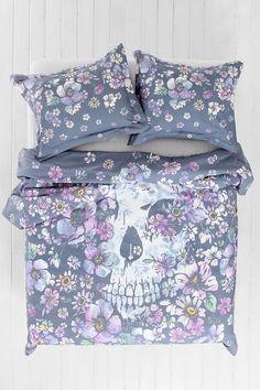 Plum & Bow Skull Flower Duvet Cover - Urban Outfitters  I LOVE this!