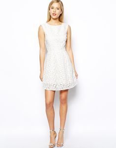 Image 4 ofOasis Exclusive Floral Organza Lace Skater Dress