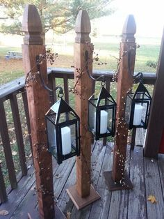 Love these lantern holders! You could use solar lights or these - and you could dress them up for any time of year!