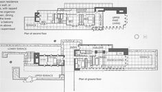 Floor Plans. Frank Lloyd Wright. Rose Pauson House 1942. Phoenix, Arizona. (In 1943, a house fire destroyed the house)..