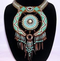 #beadwork Tribal Sun Bead Embroidery One of Kind Collar by SunRiseCanyon,
