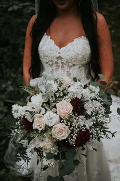 Dahlia Wedding Bouquets, Bridesmaid Bouquet White, White Rose Bouquet, Burgundy Bouquet, Rose Bridal Bouquet, Blush Wedding Flowers, Bride Bouquets, Blush Bridal, Baby's Breath Bridal Bouquet