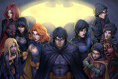 Batfamilyyyyy!! Che belli che sono i 4 Robin, Batman, le 3 Batgirl e Batwoman!!