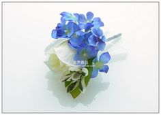 ... white rose with blue hydrangea Camellia Corsage, Married The Bride And Groom Corsage, Groomsman ...