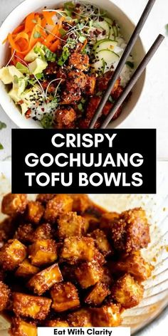 These crispy baked korean tofu bowls have spicy gochujang tofu, rice, veggies and avocado. These buddha bowls are healthy, easy to make and packed with flavor. perfect for an easy vegan dinner!