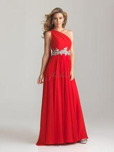 A-Line Asymmetric Beading Chiffon Long Red Prom Dress 79fb62d1108b