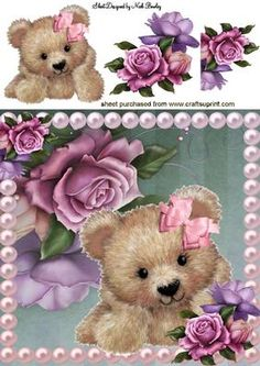 CUTE FUZZY BEAR IN PEARL FRAME WITH ROSES 8X8 on Craftsuprint - Add To Basket!