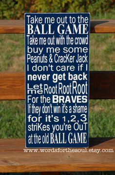 Take Me Out to The Ballgame Ball Game Baseball Nursery Wooden Typography Subway Sign Customize Favorite Team. $50.00, via Etsy. Maybe for Jacob with the Twins