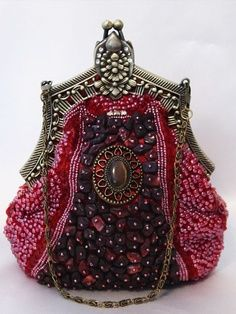 Burgundy Victorian Style Fully Beaded Crystal Purse