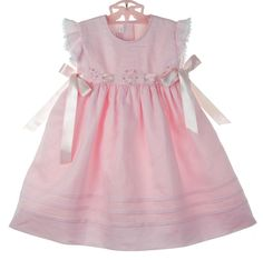 NEW Will'Beth Pink Linen Dress with Pink Rosebuds and Pink Satin Ribbon Ties Baby Outfits, Little Girl Dresses, Toddler Outfits, Kids Outfits, Girls Dresses, Baby Dresses, Easter Dresses For Toddlers, Vintage Baby Clothes, Baby Clothes Patterns