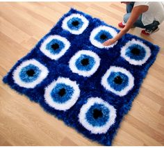 Crochet Evil Eye Decorative Rug