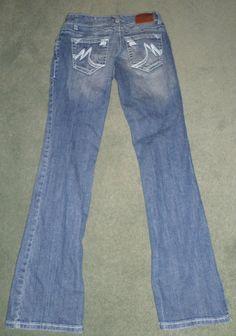 Women's Blue MAURICES Heavy Stitched Flare Fashion Jeans, Size 0 REG  X 31, GUC! #MAURICES #FlareDesignerStitchedPocketsJeans