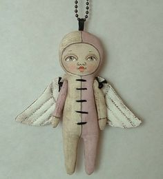 Lulu Angel Necklace Ornament-- Original Contemporary Folk Art Doll-- Made to order within a week by Cart Before the Horse