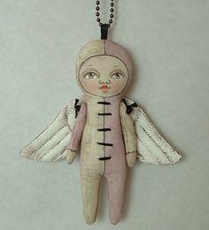 Lulu Angel Necklace--- Contemporary Folk Art Doll