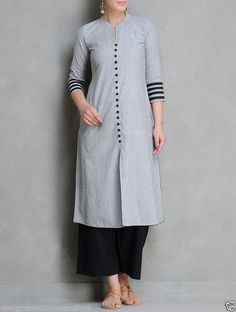 Buy Grey Black Mangalgiri Cotton Kurta by Maati Crafts Apparel Tunics Salwar Designs, Kurta Designs Women, Dress Neck Designs, Designs For Dresses, Blouse Designs, Mode Bollywood, Hijab Stile, Kurta Patterns, Woman Clothing