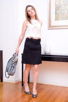 Tara Jarmon skirt + top, Chloe bag, Miu Miu pumps
