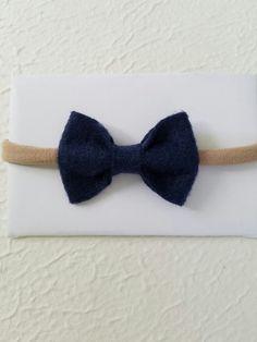 Navy Felt Bows Baby Bows Nylon Headbands by SparklingZabbdii