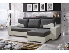 Corner Sofa Collin with Sleep Function White/Dark Grey Ottoman Right Grey Ottoman, Corner Sofa, Sweet Home, Sleep, Couch, The Originals, Design, Furniture, Home Decor