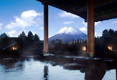 View of Mt. Fuji from the women's outdoor bath at Hotel Green Plaza Hakone - the men's better have a similar view!!