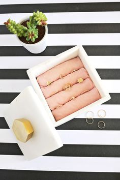 This DIY jewelry box is too cute not to make for the favorite rings!