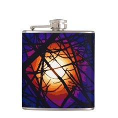Stained Glass Moon Abstract Flask