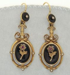 Antique+French+Napoleon+III+(Victorian)+18K+Gold+Onyx+Ruby+Pearl+Dangle+Earrings+