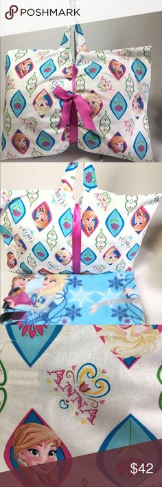 """New Kids FROZEN Theme Travel Pillow & Throw Set Kids / Girls Travel Pillow Set in """"FROZEN"""" theme. Features: - a 12 x 16 inches Polyester Filled Hypo-allergenic pillow, - 100% Cotton pillow cover, - matching premium fleece blanket 39 x 60 inches. It also has a handle so that the set is completely portable. These are perfect sets for infants to seniors. Great for Daycare, School, Travel, Camp, Hospital Stays, Car Trips , and Sleepovers at Grandmas.  These make the perfect gifts for birthdays…"""